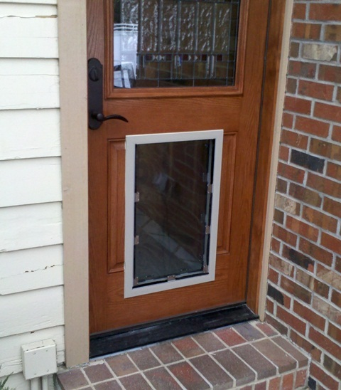 Exterior Door With Pet Door Installed Exterior Door With Pet Door Installed 6 Panel Primed