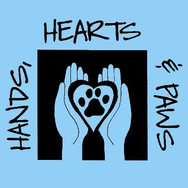 Hands hearts and paws blue