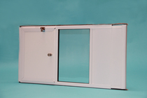 Vertical SpringTech Window Pet Door with Cover Closed