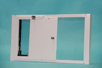 Vertical OptiView Window Pet Door with Cover Open