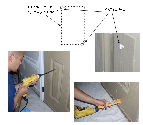 drill holes in people door for pet door