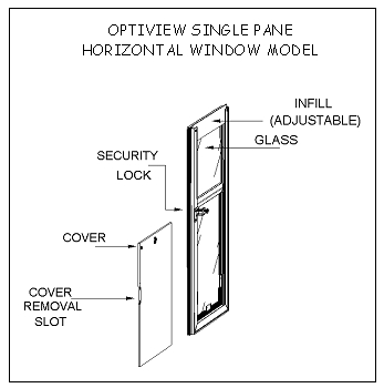 Technical drawing for Hale Pet Door horizontal OptiView single pane window model