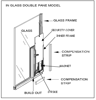 Double Pane In Glass Hale Pet Door Mechanical Drawing
