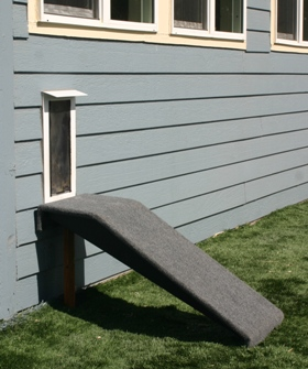 Hale Pet Door ramp attached to house wall